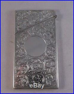 Very Nice Pretty Antique Solid Silver Card Case Birmingham 1899