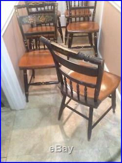 Very Nice Set Of 6 Matching L. Hitchcock Harvest Stenciled Dining Side Chairs