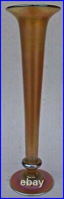 Very Nice Tiffany Favrile Glass Iridescent 12 Trumpet Vase
