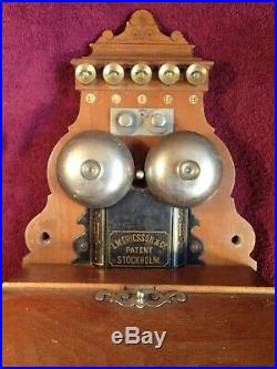 Very Nice Untouched Antique Wall Telephone Ericsson Sweden Swedish Scandinavia