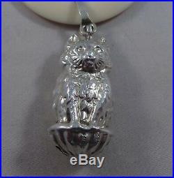 Very Nice Unusual Sterling Silver Cat Baby Rattle Birmingham 1954