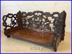 Very Nice Victorian Antique Carved Walnut Folding Book Rack Shelf Stand Trough