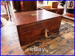 Very Nice Victorian Mahogany Jewellery Box, Brass Inlays, Restored Interior