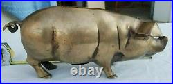 Very Nice Vintage Brass Pig Piggy Bank Antique Aged Golden Patina Heavy