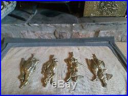 Very Nice Vintage Large Complete Hunting/Game/Animals Scene Brass Hanging Wall