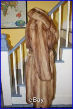 Very Nice Vintage STONE MARTEN Long Fur Coat Natural Light Brown S