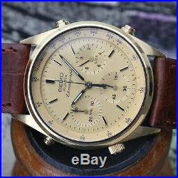 Very Nice Vintage Seiko Quartz Chronograph Watch Gold Tone 7A28-7029 Runs Great
