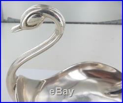 Very Nice / Vintage / Solid. 925 Sterling Silver Swan Shaped Display Bowl. 424g