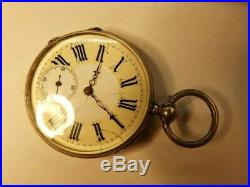 Very Nice Vintage Solid Silver Pocket Watch With Rare Engraved Movement / Case