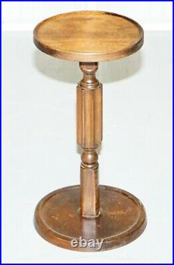 Very Small Edwardian Walnut Lamp Wine Side Table Nice Fluted Pillar To The Base