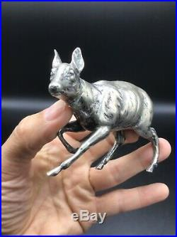 Very nice Antique 800 silver Continental Novelty model of deer/doe figural flask