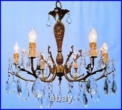 Very nice French vintage six-light chandelier with glass pendants ++