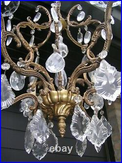 Very nice and fabulous vtg French 7 lt cage chandelier with drops