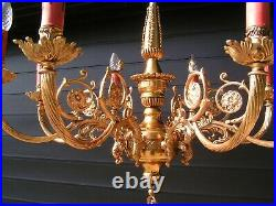 Very nice and fabulous vtg French 8 lt shining brass chandelier. Look @ this 1