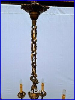 Very nice large French eight-lights brass chandelier. ++
