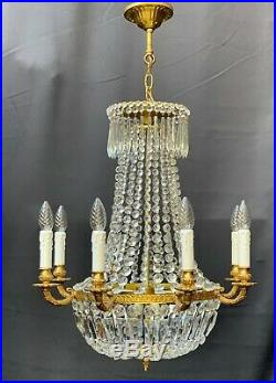 Very nice large old vintage antique style crystal chandelier ceiling light