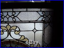 Very nice ornate stained and text glass window earth tone (SG 1563)