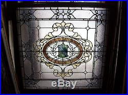 Very nice ornate stained and text glass window sky tone (SG 1562)