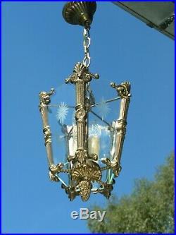 Very nice ornated bronze & vintage hall light chandelier A nice light