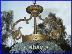 Very nice vintage French boule de neige- pineapple hall light chandelier