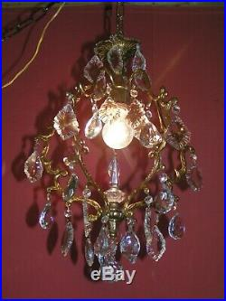 Very nice vintage French cage hall light chandelier A real beauty