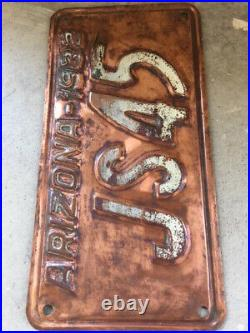 Vintage 1932 Arizona License Plate Copper Antique Az Very Nice Shape