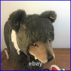Vintage 24 STEIFF BEAR ON WHEELS Pull Toy Original Ear Button Tags VERY NICE