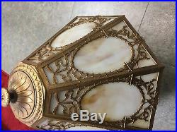 Vintage 8 pane Slag Glass Lamp with white & Caramel Slag very nice