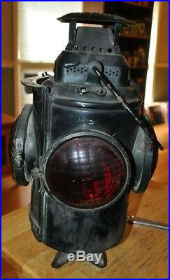 Vintage Antique Adlake Non Sweating Chicago Railroad Latern Lamp Very Nice