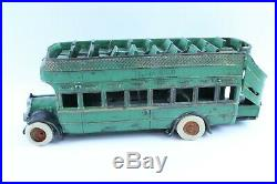 Vintage Antique Arcade Cast Iron Yellow Coach Bus Very Nice