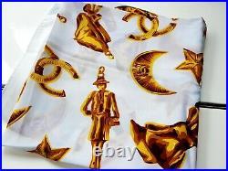Vintage Chanel Large White Gold Stars Half-moon Silk Scarf Very nice! 1990s