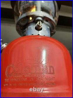 Vintage Coleman Red Model 200A Gas Lantern, July 1953, Very Nice Working cond