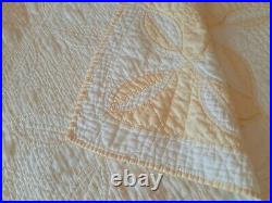 Vintage Cream and Butter Quilt Pretty Pattern 76 x 75 Very Nice