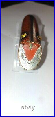 Vintage Fishing Lure Heddon Head On Basser Rare Red Scale Very Nice