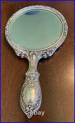 Vintage Gorham # 23 Sterling Silver Hand Mirror Art Nouveau REPOUSSE-Very Nice