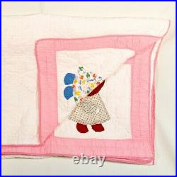 Vintage Handmade Quilt Sunbonnet Sue Appliqued Dutch Girl 80x66 Very Nice