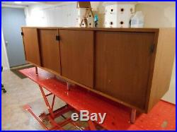 Vintage Modern Florence Knoll 72 Walnut Credenza Leather Pulls Very Nice