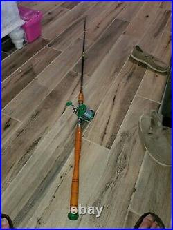 Vintage PENN Monofil No. 26 With RARE ROD Fishing Reel Green RARE! VERY NICE