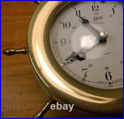 Vintage SCHATZ SHIPS BELL 8 Day 7 Jewels CLOCK Made in West Germany VERY NICE