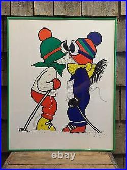 Vintage SUGARLOAF Maine Mountain Ski Resort Poster Kissing Kids VERY NICE 22x16