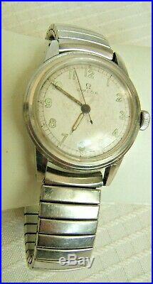 Vintage Stainless Steel Omega Wind Up Wrist Watch Very Nice