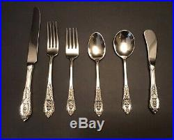 Wallace Rose Point Sterling Silver Flatware Set 6 Place Settings(Very Nice Set)
