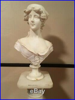White Marble Female Bust Artist Unknown Signed Antique Very Nice