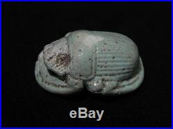 Zurqieh Very Nice Large Ancient Faience Button Scarab, 600 B. C